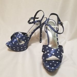 Bakers Navy Blue With White Polka Dots Heels 7.5